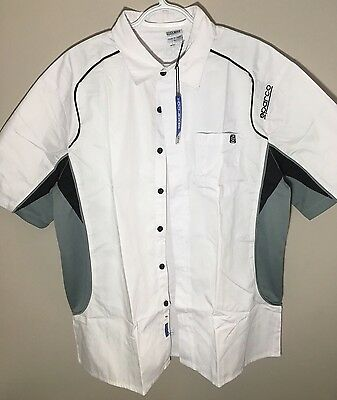 SPARCO RACING, PIT TECH CREW , White, button shirt, Size XL, 100% Authentic. NWT