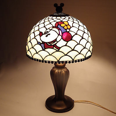 Vintage Rare Mickey & Minnie Mouse Tiffany Style Stained Glass Lamp Art Nouveau