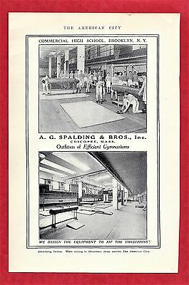 1917 Ad ~ SPALDING GYM EQUIP ~ CHICOPEE, MA ~ COMMERCIAL HIGH SCHOOL, BROOKLYN