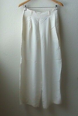 vtg 90s Silk totokaelo White high waist pants wide leg MINIMALIST simple mnz