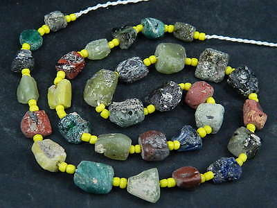 Ancient Fragment Glass Beads Strand Roman 200 BC  #BE1345
