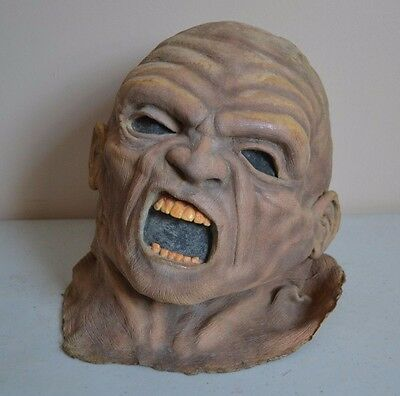 USED Vintage Halloween Creepy YELLOW TEETH HEAD VINYL MASK PROP M & M STUDIOS