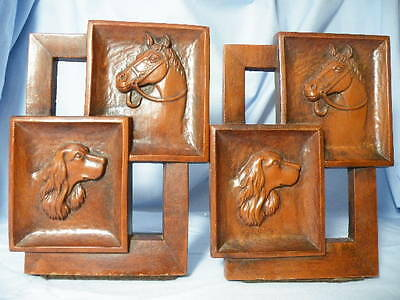 Vintage Irish English Setter And Horse Bookends Syroco U.s.a.