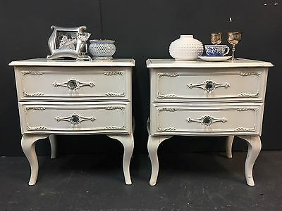 Pair Vintage French Provincial Two Drawer Bedside Tables Chests