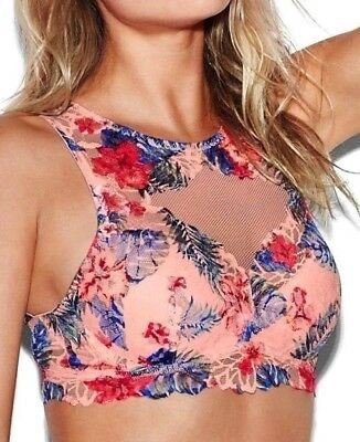 bfdc03b7cb NWT Victorias Secret PINK Floral Lace High Neck PUSH-UP Bralette Euphoria XS