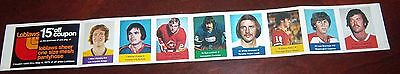 Loblaws / Save Easy NHL action players 1974-75 full strip  8 player stamps # 1