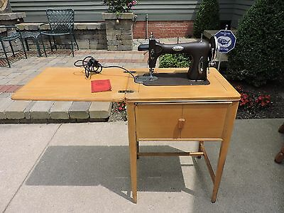 Vintage White Model 43 Rotary Sewing Machine In Original Wood Cabinet Accessorie