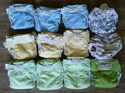 Lot - 12 Bumgenius Cloth Diapers Pocket Style One Size AiO Blue Green Bum Genius