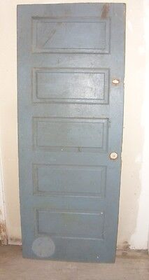 "Vintage Wood Interior Door Green/Gray on one side & Brown on the other 77"" X 30"""