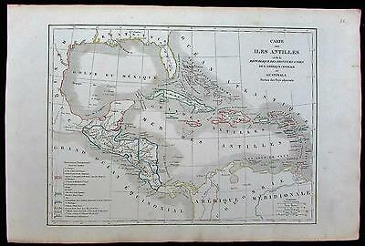 Caribbean West Indies Guatemala Mexico Cuba Florida c.1840 old antique color map