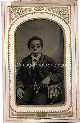 Antique Tintype Photograph African American Handsome Boy