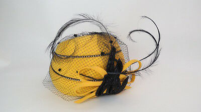 Vintage 40s La Morrisette Millinery yellow felt feather hat