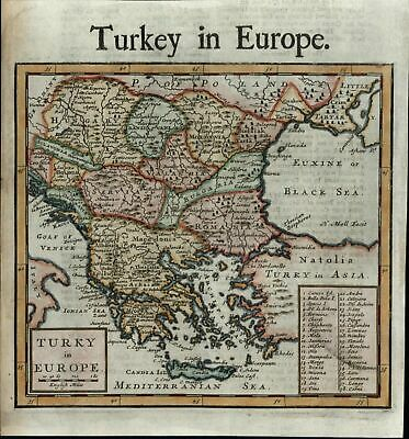 Turkey in Europe Balkans Greece Serbia Anatolia Hungary c.1720 Moll old map