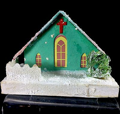 Chapel Pitch Steep Roof Putz Christmas House 1950s Japan Green Pink Shrub Fence