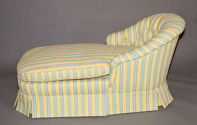 LAURA ASHLEY CHAISE LOUNGE BY BAKER - Yellow and blue/green stripe ch... Lot 248