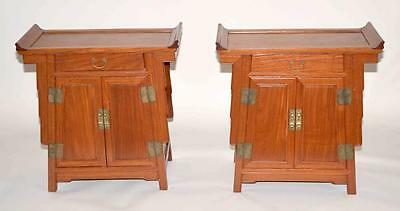 PAIR OF CHINESE STYLE WOOD SIDE CABINETS, 28''H x 29''L x 14''W. Cond... Lot 335
