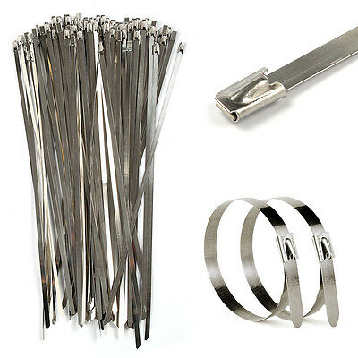 50Pcs Stainless Steel Zip Ties Straps Fits Moto Motorcycle Exhaust Header Wrap
