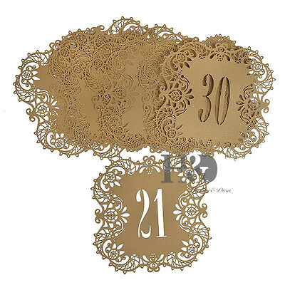 No.20-30 Gold Laser Cut Heart Place Table Numbers Cards Wedding Birthday Decor