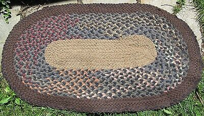 Antique Hand Made Braided Area Rug Primitive Folk Art33x55Wool,Blue Indigo Denim