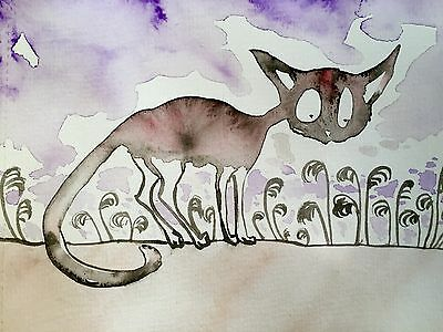 Sienna Mayfair Cat Painting A5 Original Animal Artwork -Spend Time Outside Today
