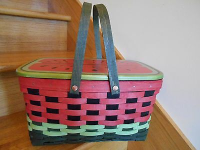 Longaberger Watermelon Medium Market Basket Set with lid cute *free shipping!*