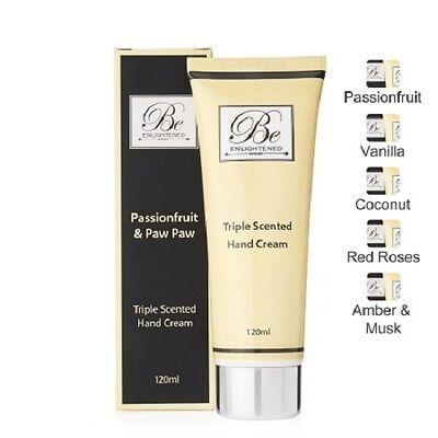 Be Enlightened Passionfruit & Paw Paw Triple Scented Hand Cream New in Box 120ml