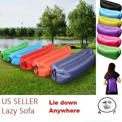 Lazy Air Bed Sofa Camping Lounger Sofa Sleeping Bag Beach Hangout Inflatable