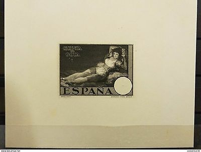 O) 1930 Spain, Proof In Black, The Clothed Maja  Painting Francisco Goya, Sanche