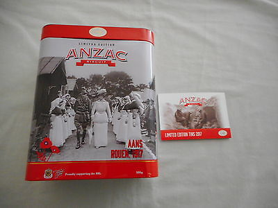 Anzac 2017 Limited Edition Biscuit Tin  '' Aans Rouen 1917 ''