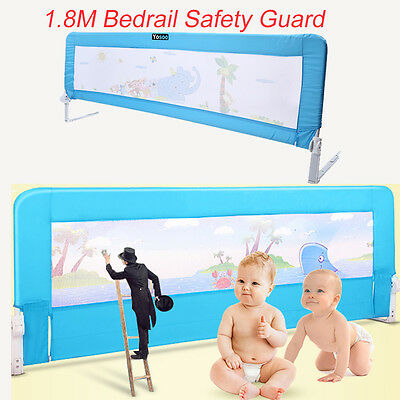 Blue Kids Baby Safety Bed Rail Toddler  Bedrail Fold Cot Guard Protection 180cm