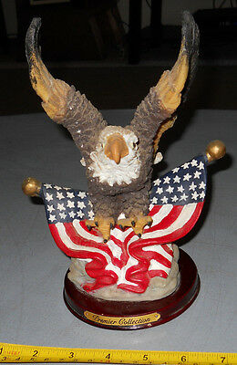 "LARGE Bald Eagle Patriotic American Flag Figurine 9"" TALL~CERAMIC"