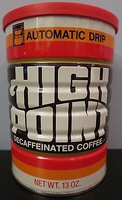 Vintage Unopened 13 oz High Point Decaf Tin Coffee Can w/Plastic Lid