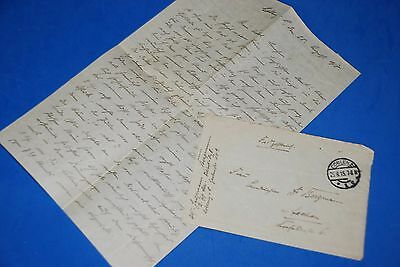 1918 World War, German Captain Field Post Vintage old Letter WWI, Antique L78