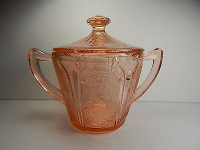 Jeanette Cherry Blossom Sugar Bowl With Lid. Pink Depression Glass
