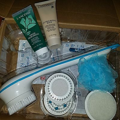 NEW Spin Spa Body Brush with 5 Attachments &Lancome body cleanser& moisturizer