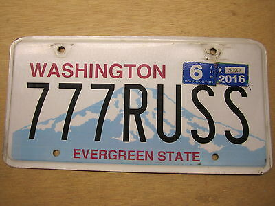 Russell Wilson License Plate Washington 777Russ