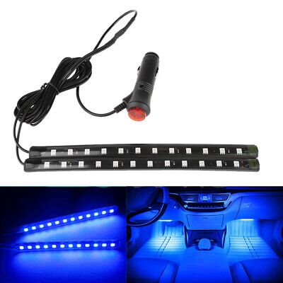 2X12 LED Car SUV Interior Footwell Floor Decor Atmosphere Light Neon Strips Blue