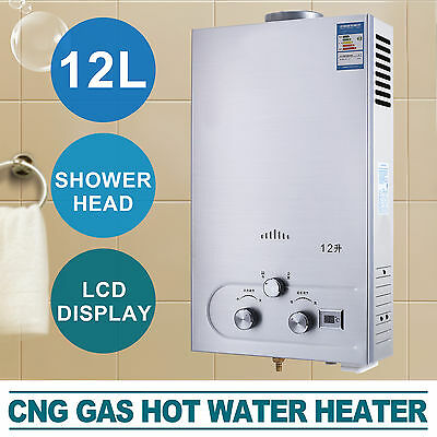 12L Hot Water Heater Tankless CNG Instant Boiler With Shower Head 3.2GPM