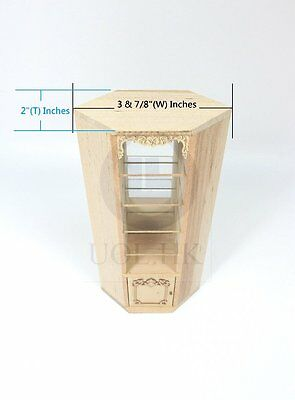 Wooden Miniature 1:12 Scale Corner Display Cabinet [Unfinished]