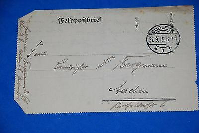 1918 World War German Captain Field Post Vintage Card old Letter WWI Antique 106