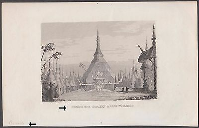Rangoon Burma Eingang 20 R Grossan Famous Pagoda Temple Original Early Print