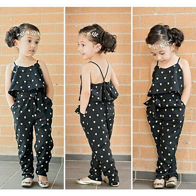 Girls Kids Sleeveless Jumpsuit Romper Trousers Belt Playsuit Outfits Set Clothes