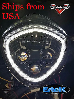VICTORY Halo Angel Eye DRL LED Headlight For Cross Country/Roads Cruisers- Black