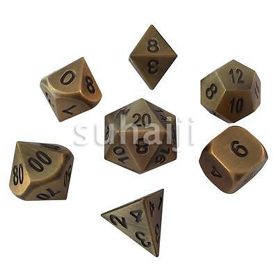 Antique Gold Color- Solid Metal Polyhedral Role Playing Game (RPG) 7 Dice Set