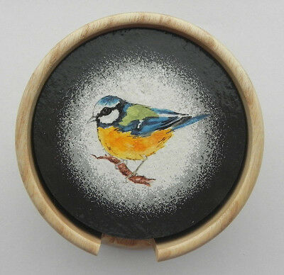 Welsh Slate Coasters Set of six Garden Birds { With White Ash Wooden Holder }
