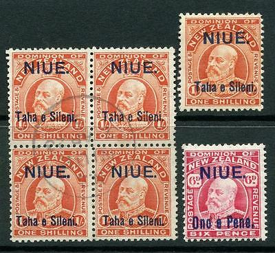 Niue 1911 Surcharge Overprint 1/- Block of 4 Used, Also couple of Mint stamps
