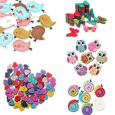 50pcs Mixed Pattern Bird Diy Butterfly 2 Holes Scrapbook Sewing Wooden Buttons