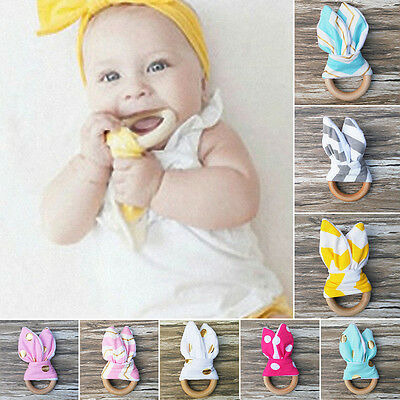 Baby Infant Teething Ring Natural Wooden Safety Chewie Teether Bunny Sensory Toy