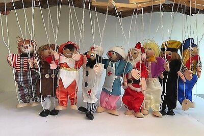 String Wooden Puppet Marionette Pack of 9