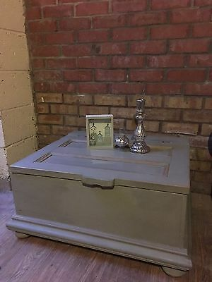 Vintage Rustic Shabby Chic Old  Wood Chest Trunk Coffee Table